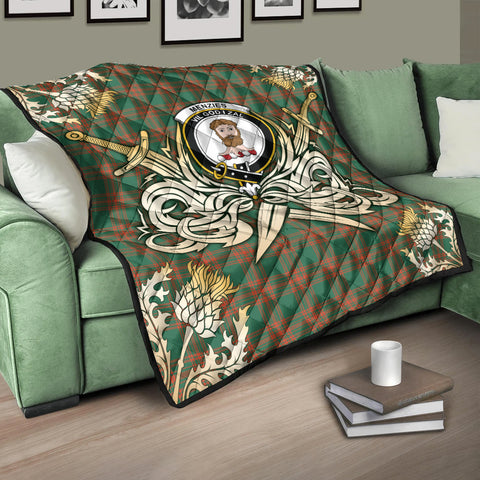 Menzies Green Ancient Clan Crest Tartan Scotland Thistle Symbol Gold Royal Premium Quilt K9