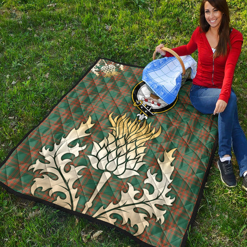 Menzies Green Ancient Clan Crest Tartan Scotland Thistle Gold Royal Premium Quilt K9