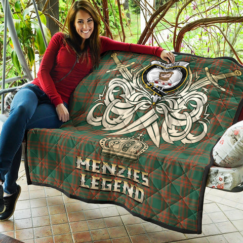 Menzies Green Ancient Clan Crest Tartan Scotland Clan Legend Gold Royal Premium Quilt K9