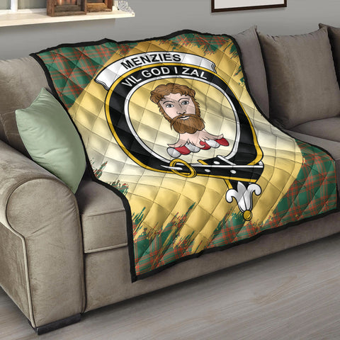 Menzies Green Ancient Clan Crest Tartan Scotland Gold Royal Premium Quilt K9