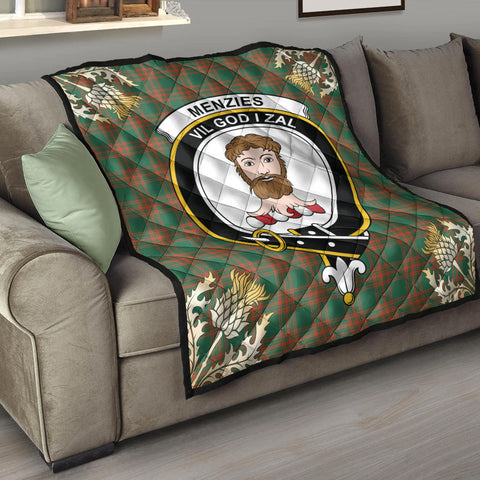 Menzies Green Ancient Clan Crest Tartan Scotland Thistle Gold Pattern Premium Quilt K9