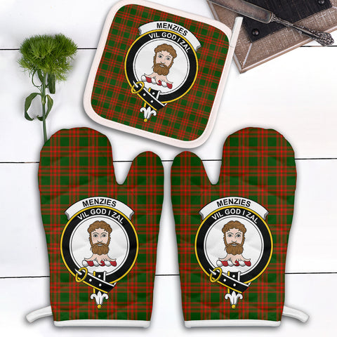 Menzies Green Modern Clan Crest Tartan Scotland Oven Mitt And Pot-Holder (Set Of Two)