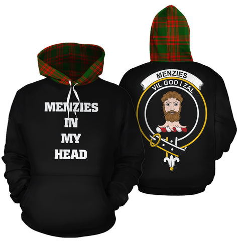 Menzies Green Modern In My Head Hoodie Tartan Scotland K9