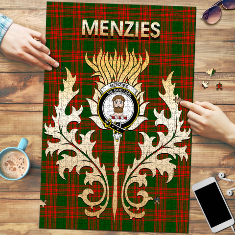 Menzies Green Modern Clan Name Crest Tartan Thistle Scotland Jigsaw Puzzle