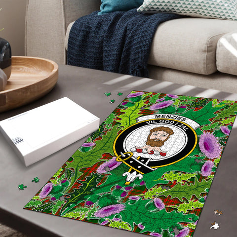 Menzies Green Modern Clan Crest Tartan Thistle Pattern Scotland Jigsaw Puzzle