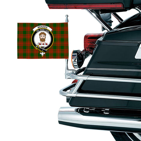 Menzies Green Modern Clan Crest Tartan Motorcycle Flag
