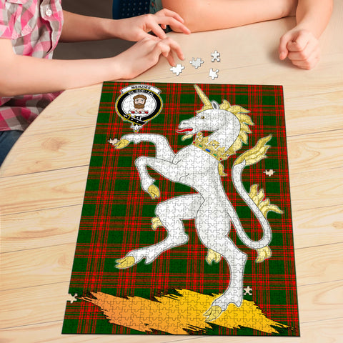 Menzies Green Modern Clan Crest Tartan Unicorn Scotland Jigsaw Puzzle