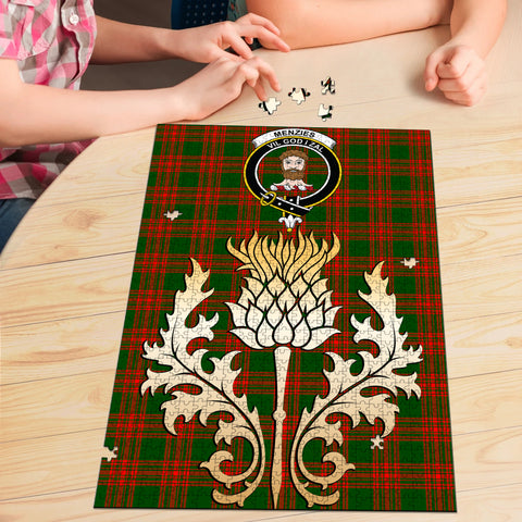 Image of Menzies Green Modern Clan Crest Tartan Thistle Gold Jigsaw Puzzle