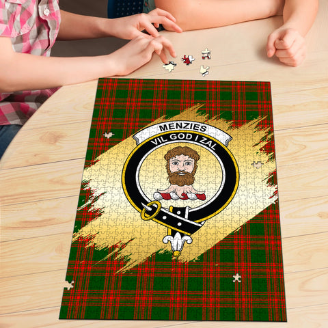 Image of Menzies Green Modern Clan Crest Tartan Jigsaw Puzzle Gold