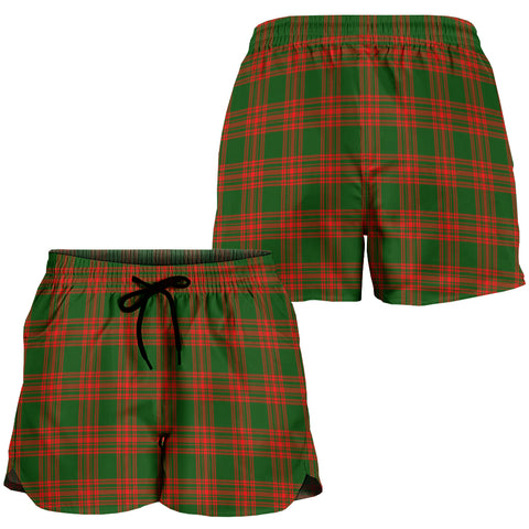 Menzies Green Modern Crest Tartan Shorts For Women K7