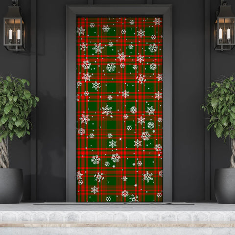 Menzies Green Modern Christmas Tartan Door Sock Cover