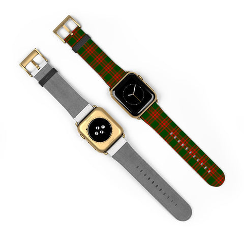 Menzies Green Modern Scottish Clan Tartan Watch Band Apple Watch