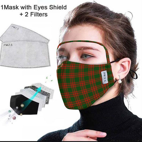 Menzies Green Modern Tartan Face Mask With Eyes Shield - Red & Green  Plaid Mask TH8