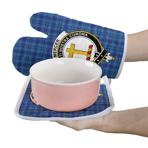 Mercer Modern Clan Crest Tartan Scotland Oven Mitt And Pot-Holder (Set Of Two)