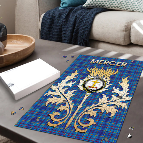 Mercer Modern Clan Name Crest Tartan Thistle Scotland Jigsaw Puzzle