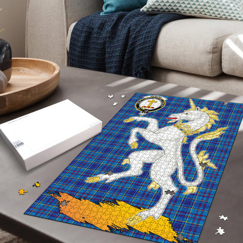Image of Mercer Modern Clan Crest Tartan Unicorn Scotland Jigsaw Puzzle