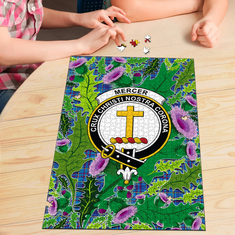 Image of Mercer Modern Clan Crest Tartan Thistle Pattern Scotland Jigsaw Puzzle