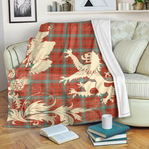 Image of Morrison Red Ancient Tartan Scotland Lion Thistle Map Premium Blanket Hj4