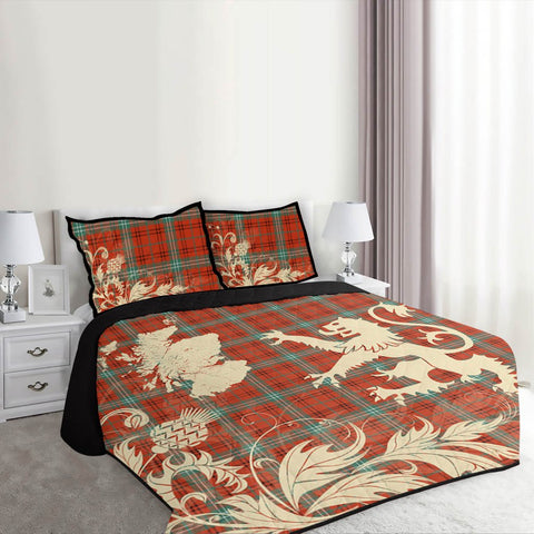 Image of Morrison Red Ancient Tartan Scotland Lion Thistle Map Quilt Bed Set Hj4