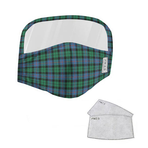 Morrison Ancient Tartan Face Mask With Eyes Shield - Blue & Green  Plaid Mask TH8