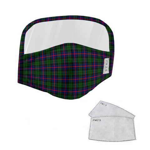 Morrison Modern Tartan Face Mask With Eyes Shield - Green & Blue  Plaid Mask TH8