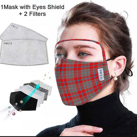 Moubray Tartan Face Mask With Eyes Shield - Red & Gray  Plaid Mask TH8