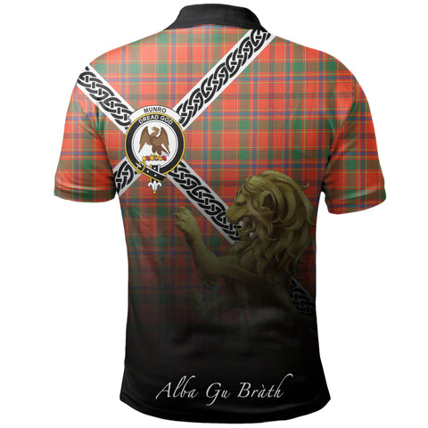 Image of Munro Ancient Polo Shirts Tartan Crest Celtic Scotland Lion A30