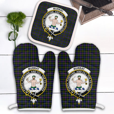 Murray of Atholl Modern Clan Crest Tartan Scotland Oven Mitt And Pot-Holder (Set Of Two)
