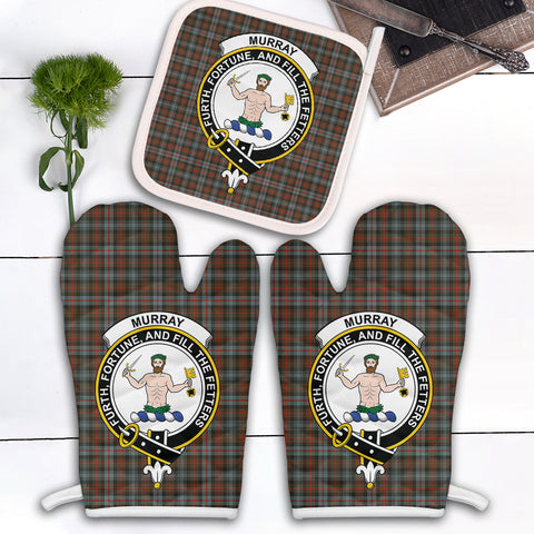 Murray of Atholl Weathered Clan Crest Tartan Scotland Oven Mitt And Pot-Holder (Set Of Two)