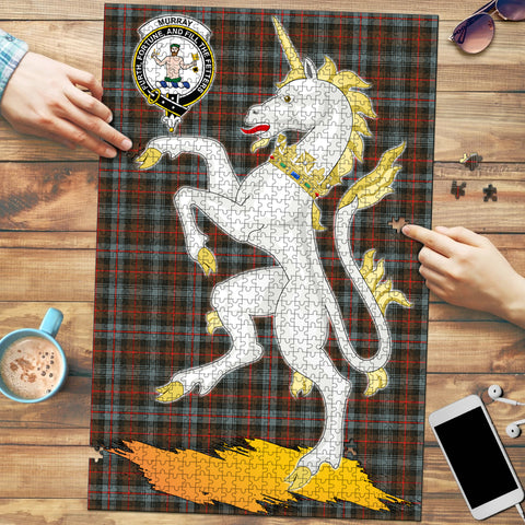 Murray of Atholl Weathered Clan Crest Tartan Unicorn Scotland Jigsaw Puzzle