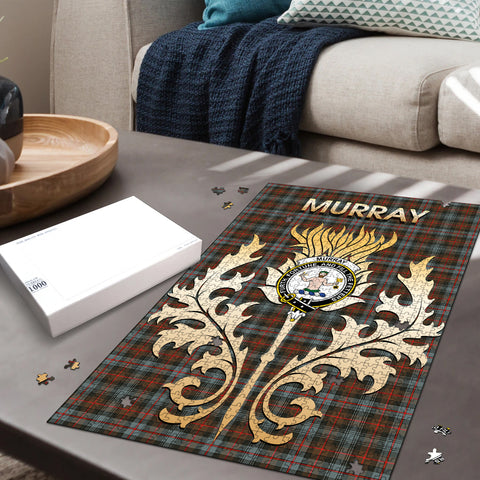 Murray of Atholl Weathered Clan Name Crest Tartan Thistle Scotland Jigsaw Puzzle