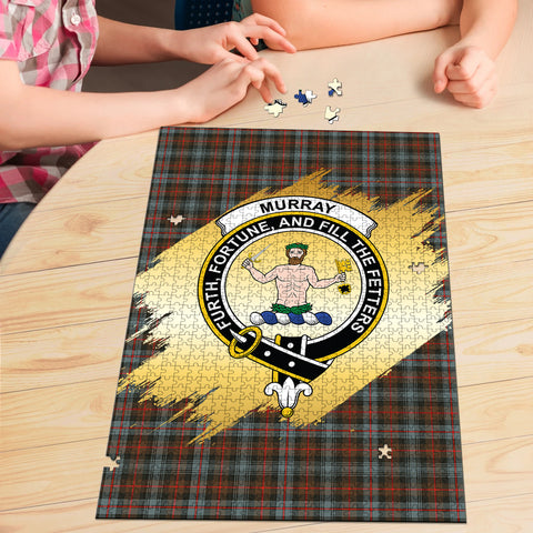 Murray of Atholl Weathered Clan Crest Tartan Jigsaw Puzzle Gold