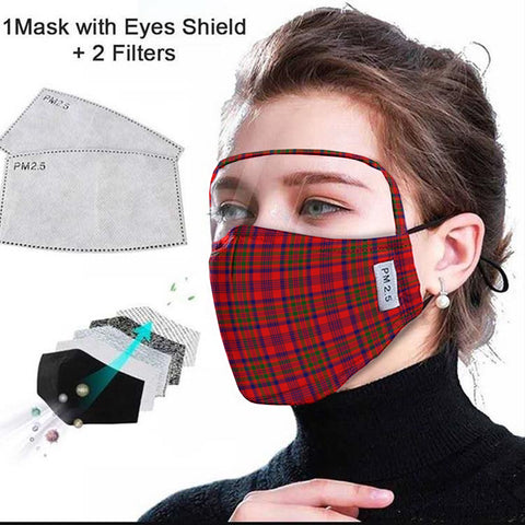 Murray of Tulloch Modern Tartan Face Mask With Eyes Shield - Red  Plaid Mask TH8