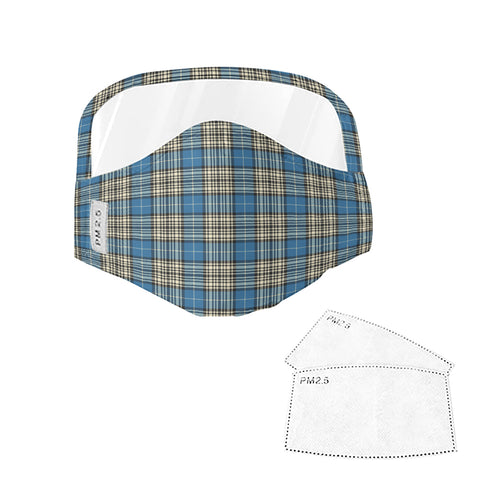 Napier Ancient Tartan Face Mask With Eyes Shield - Blue & White  Plaid Mask TH8