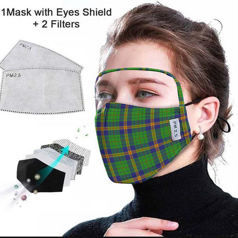 New Mexico Tartan Face Mask With Eyes Shield - Green  Plaid Mask TH8