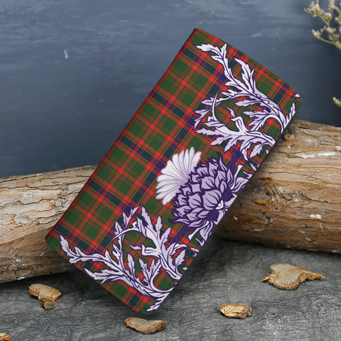 Nithsdale District Tartan Wallet Women's Leather Thistle A91