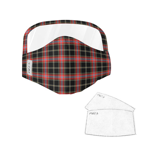 Norwegian Night Tartan Face Mask With Eyes Shield - Black & Red  Plaid Mask TH8