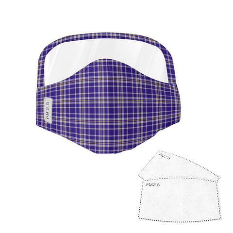 Image of Ochterlony Tartan Face Mask With Eyes Shield - Blue  Plaid Mask TH8