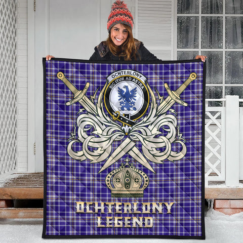 Ochterlony Clan Crest Tartan Scotland Clan Legend Gold Royal Premium Quilt