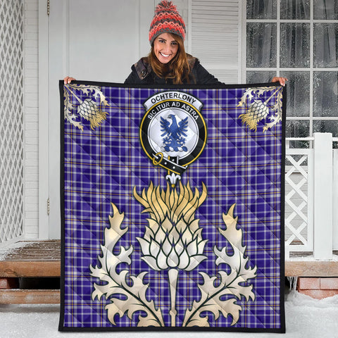 Image of Ochterlony Clan Crest Tartan Scotland Thistle Gold Royal Premium Quilt