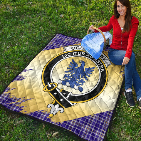 Image of Ochterlony Clan Crest Tartan Scotland Gold Royal Premium Quilt K9