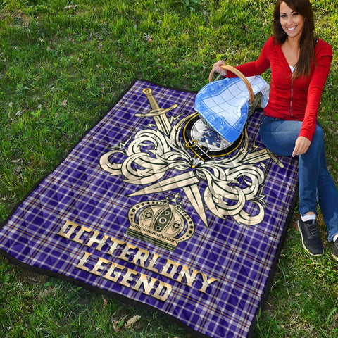 Ochterlony Clan Crest Tartan Scotland Clan Legend Gold Royal Premium Quilt K9