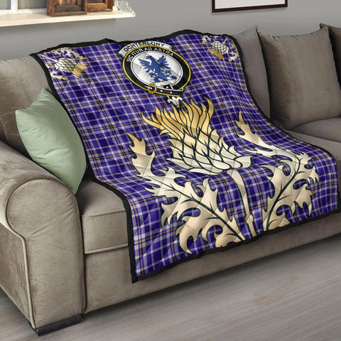 Image of Ochterlony Clan Crest Tartan Scotland Thistle Gold Royal Premium Quilt K9