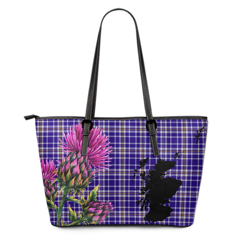 Ochterlony Tartan Leather Tote Bag Thistle Scotland Maps A91