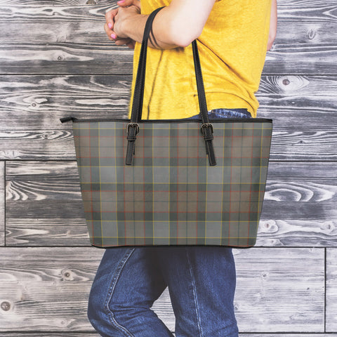 Outlander Fraser Tartan Leather Tote Bag (Large) | Over 500 Tartans | Special Custom Design