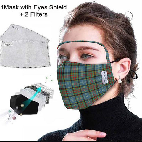 Paisley District Tartan Face Mask With Eyes Shield - Blue & Green  Plaid Mask TH8