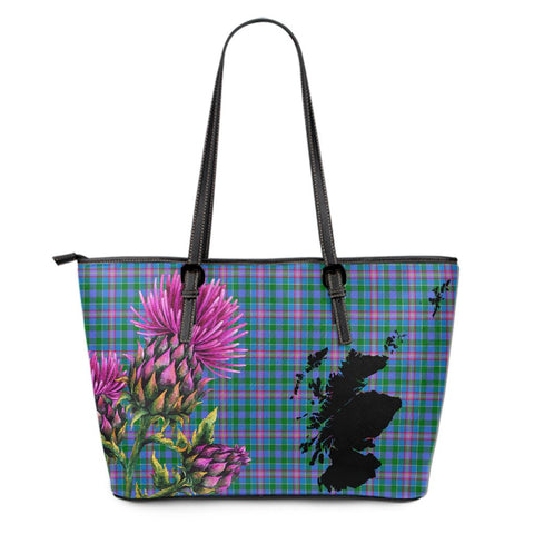 Pitcairn Hunting Tartan Leather Tote Bag Thistle Scotland Maps A91