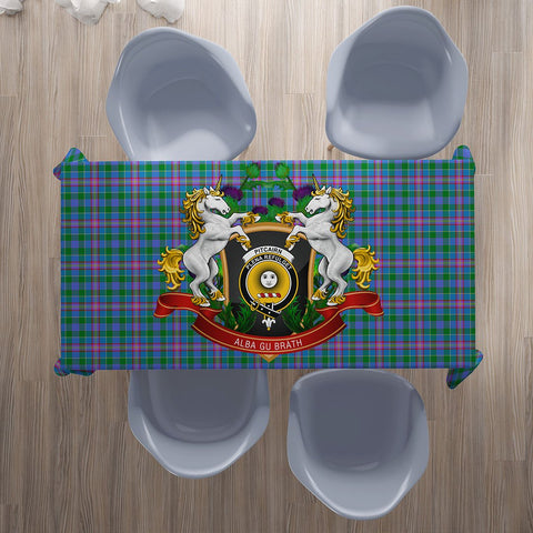 Image of Pitcairn Hunting Crest Tartan Tablecloth Unicorn Thistle | Home Decor
