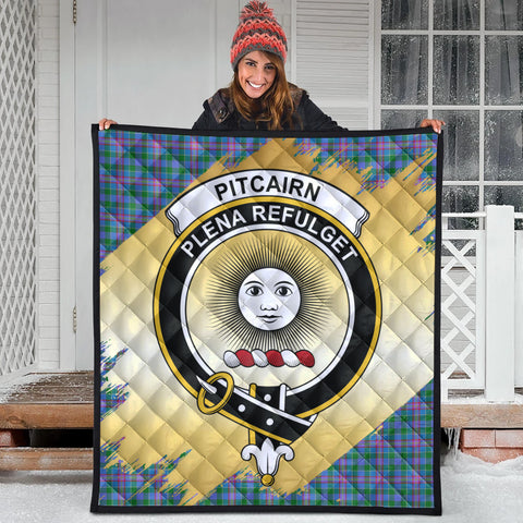Image of Pitcairn Hunting Clan Crest Tartan Scotland Gold Royal Premium Quilt