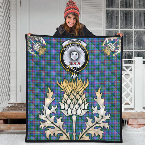 Pitcairn Hunting Clan Crest Tartan Scotland Thistle Gold Royal Premium Quilt